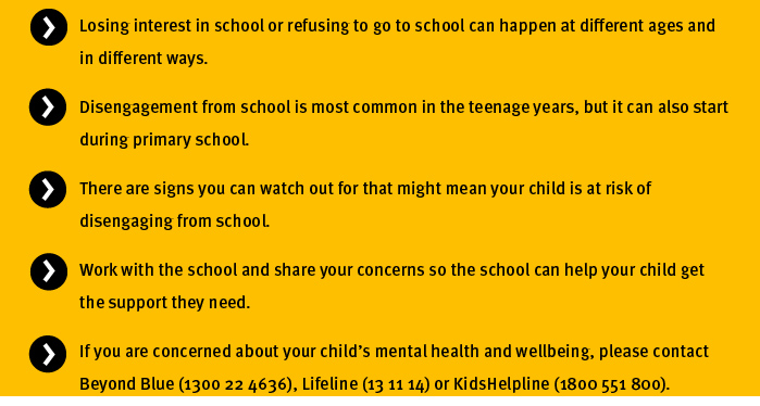 Key points - Signs giving up on school